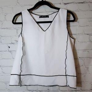 Zara White Sleeveless Top with Black Seams
